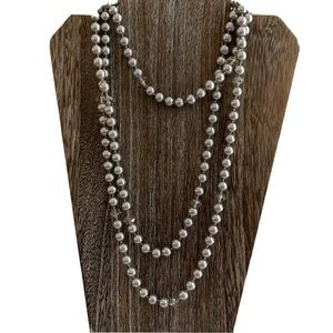 """Gray Pearls & Faceted Gray Bead Long Necklace 46""""L"""